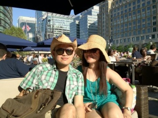 With one of my best friends, soaking up the sun in Canary Wharf